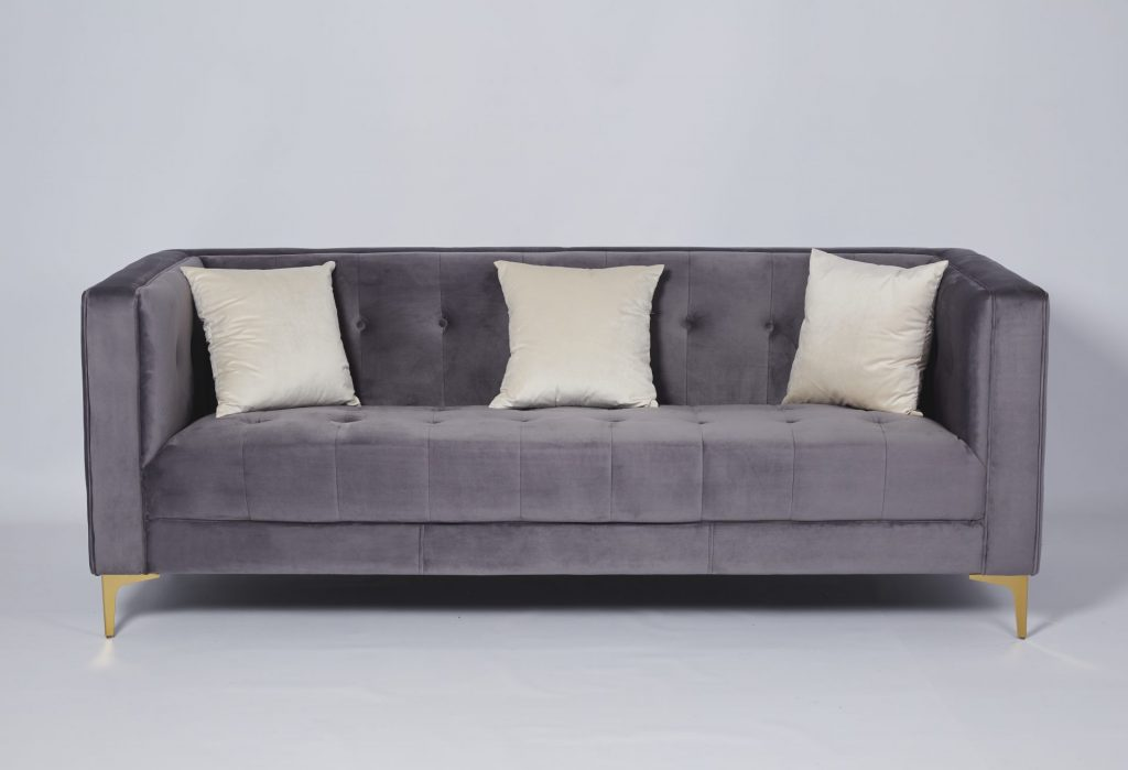 Grey Velvet & Gold Metal Stunning Modern Hotel Style Sofa ROOBBA