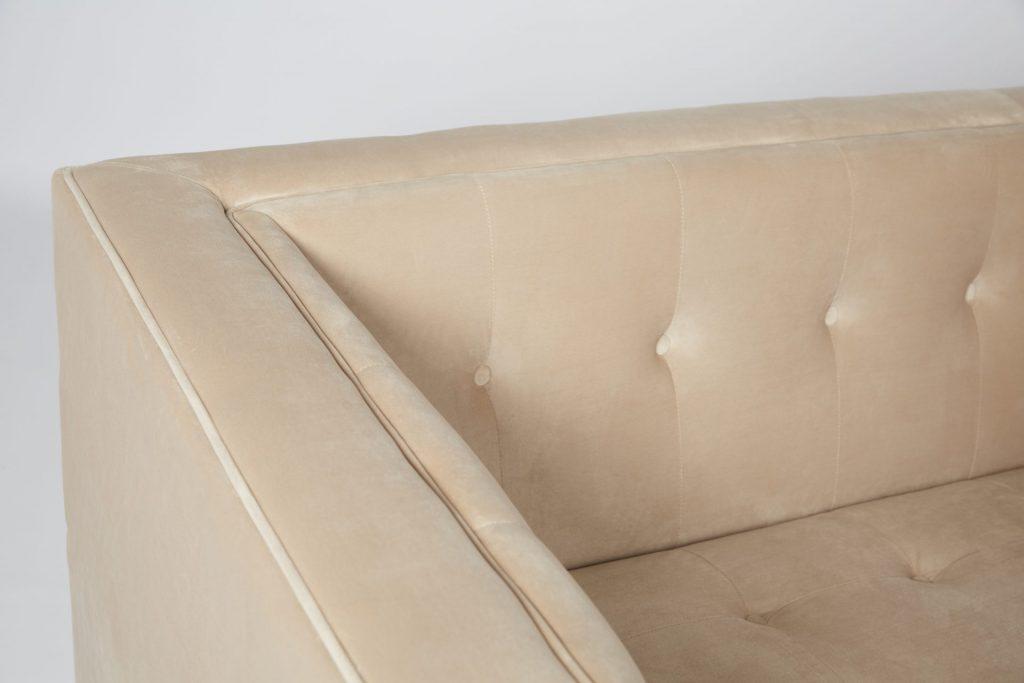 Beige Velvet & Gold Metal Stunning Modern Hotel Style Sofa ROOBBA