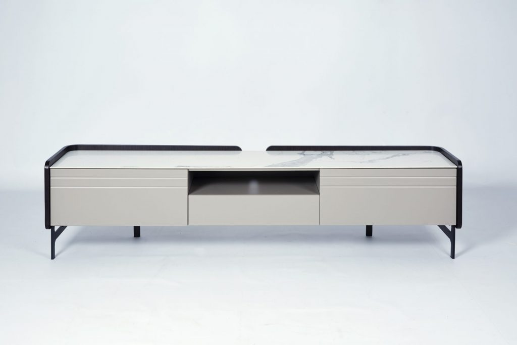Faux Marble Dark Wood Grey Lacquer Modern TV Unit Storage ROOBBA
