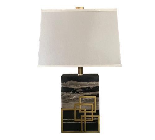 ROOBBA Alba Gold Black Grey Marble Table Lamp