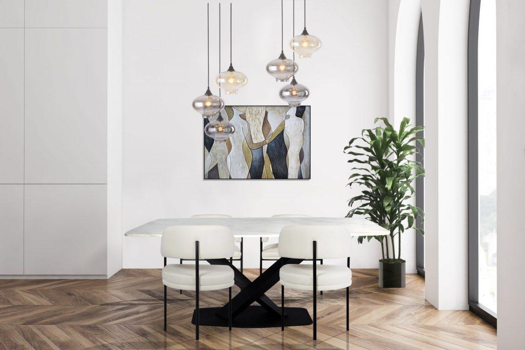 Marble Black Dining Table Cream Black Dining Chair pendant Lighting Modern Affordable Stylish Dining Room SettingROOBBA