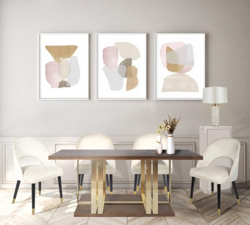 Gold Brown Dining Table Beige Velvet Dining Chairs Marble Lamp Beautiful Affordable Dining Room Setting Modern ROOBBA