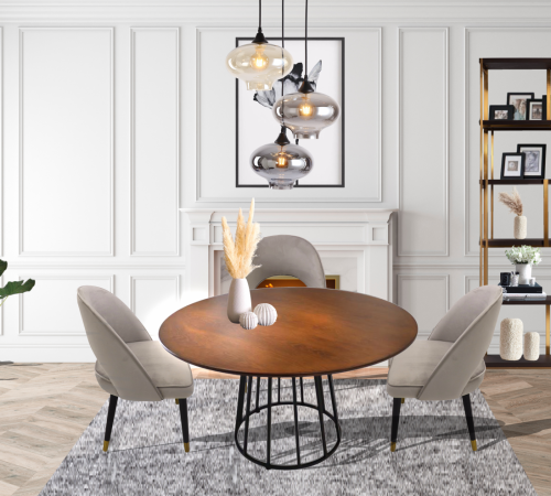 Wood & Metal Dining Table Grey Velvet Dining Chairs Dining Room Setting Cheap Luxury ROOBBA