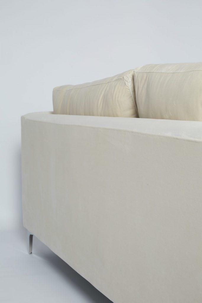 Cream Velvet & Chrome Stunning Modern Hotel Style Comfortable Corner Sofa ROOBBA