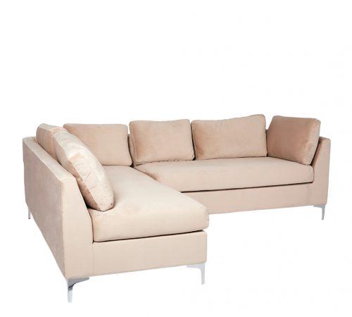 Beige Velvet & Chrome Stunning Modern Hotel Style Comfortable Corner Sofa ROOBBA
