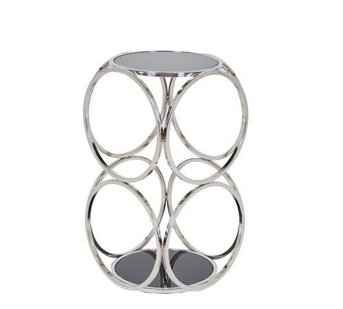 Milo Silver Chrome Black Metal Side Table Stunning Design Cheap ROOBBA