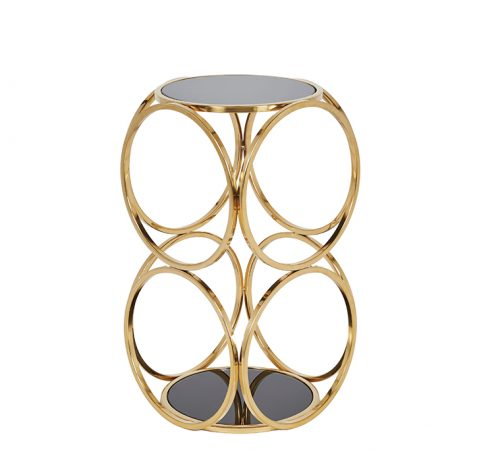 Milo Gold Chrome Black Metal Side Table Stunning Design Cheap ROOBBA