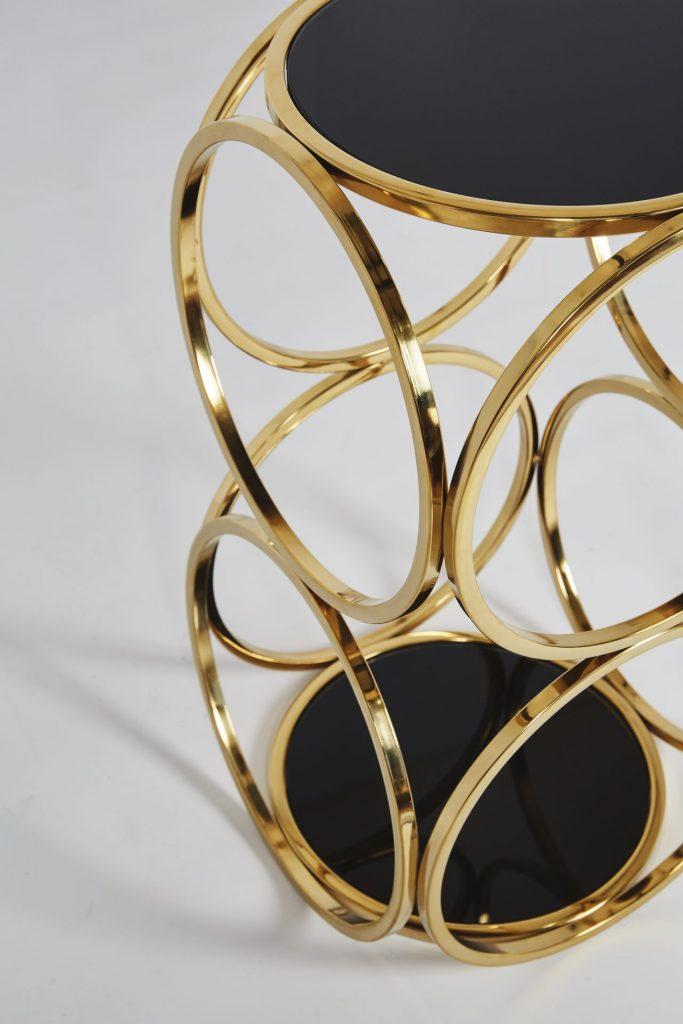 Milo Gold Chrome Black Metal Side Table Stunning Design Cheap ROOBBA