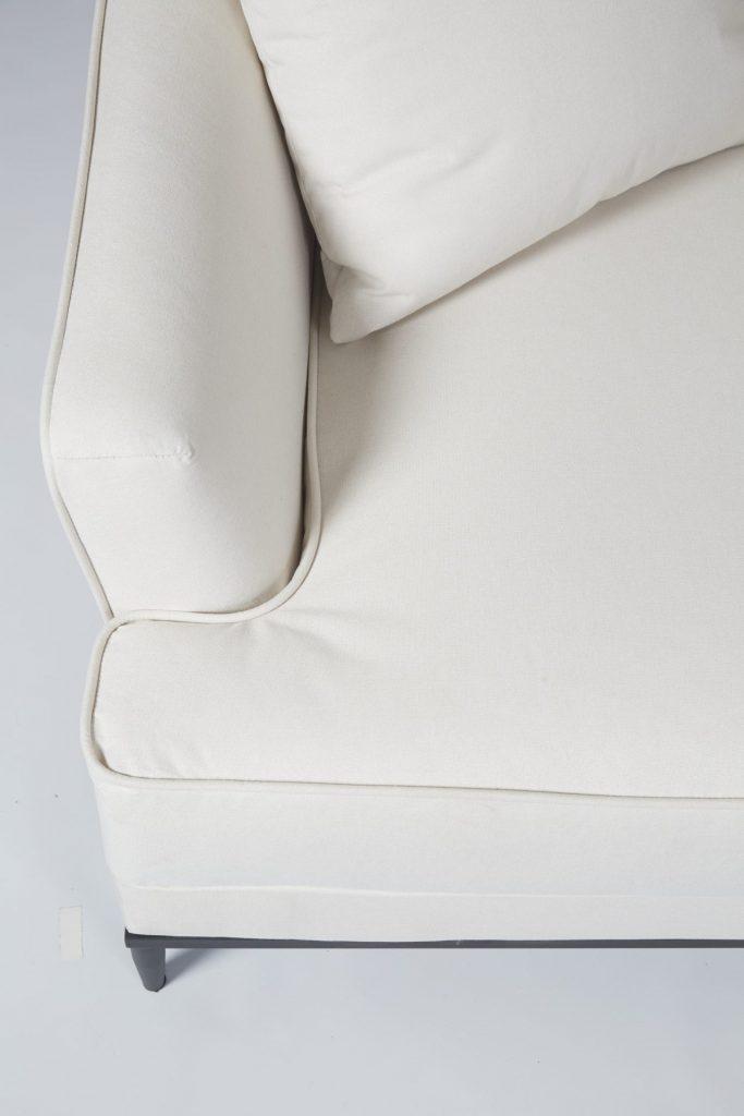 Cream Fabric & Black Wood Stunning Modern Hotel Style Sofa ROOBBA