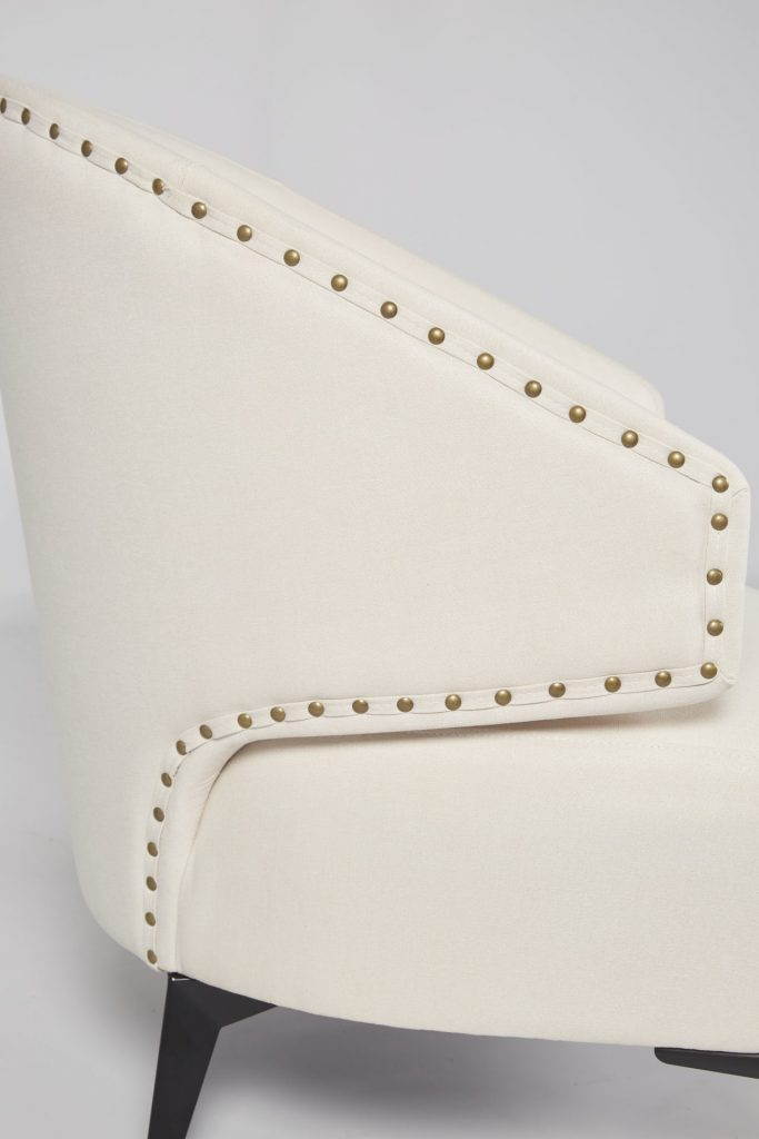 Cream Fabric & Black Wood Stunning Modern Hotel Style Armchair ROOBBA