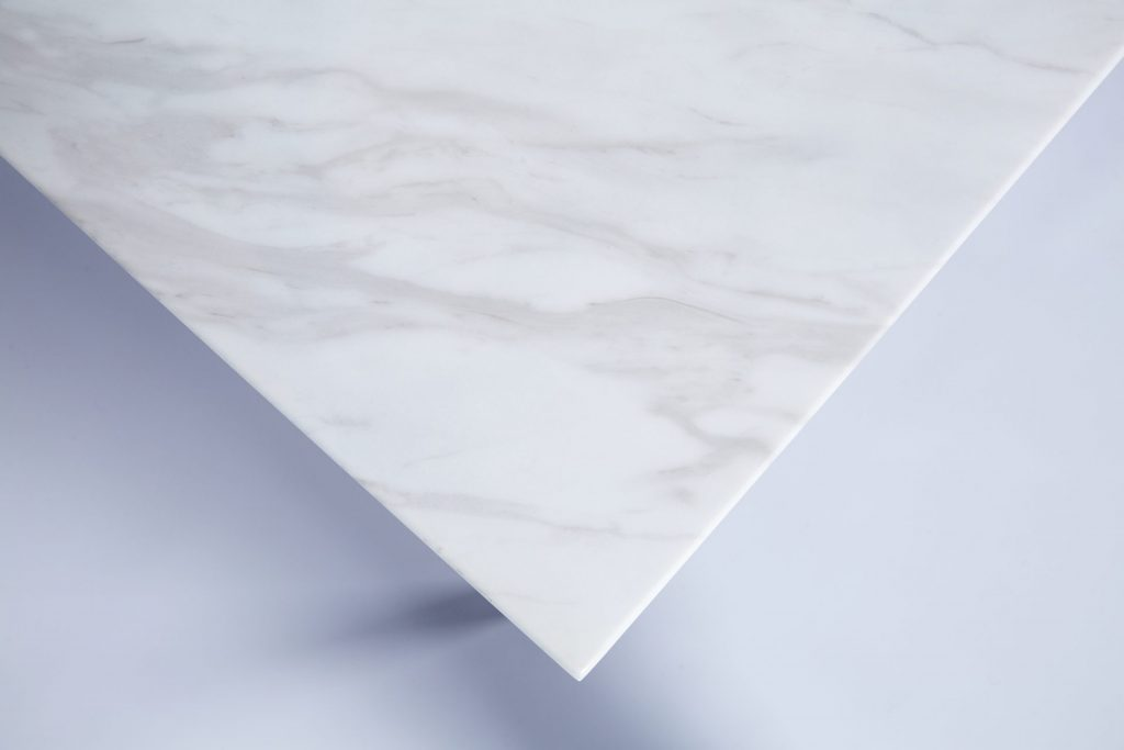 White Faux Marble & Black Metal Stylish Modern Square Coffee Table ROOBBA