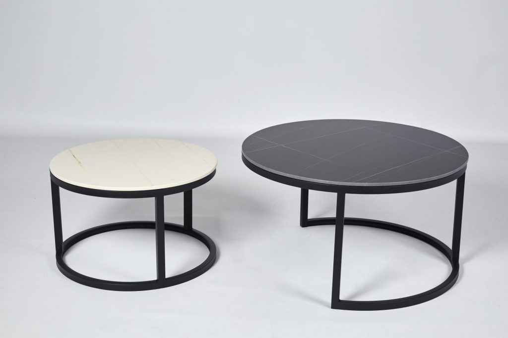 White & Black Sintered Stone Metal Legs Round Coffee Table Set Nest ROOBBA