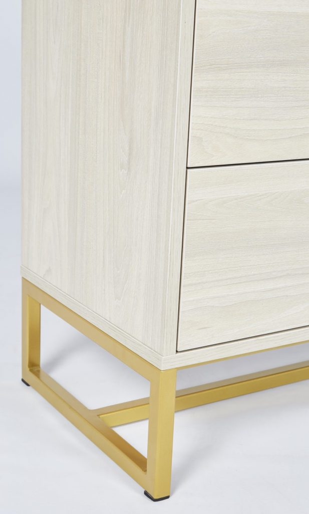 Gold Metal & Light Maple Wooden Chest of Drawers ROOBBA
