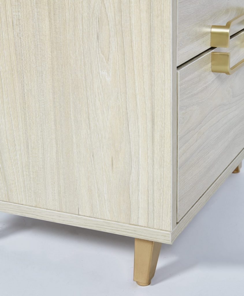 Gold Metal & Light Maple Wooden Bedside Table ROOBBA