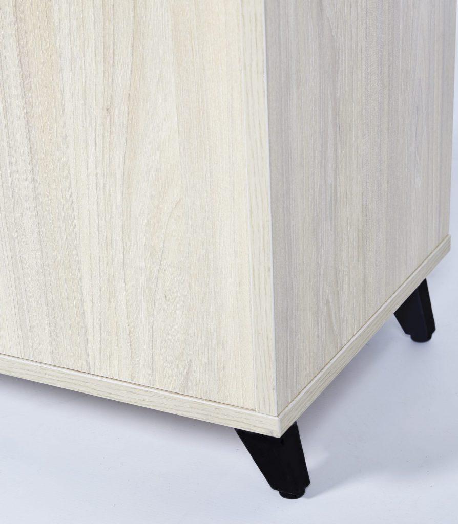 Black Metal & Light Maple Wooden Bedside Table ROOBBA