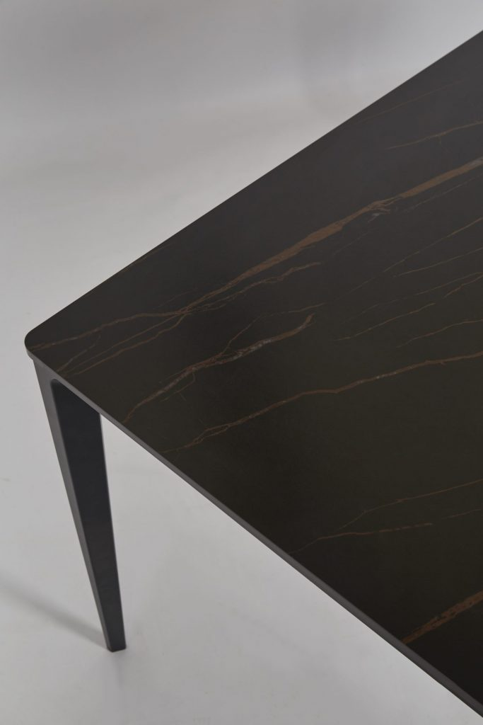 Black Stone Dining Table Marble Effect Stylish Modern ROOBBA