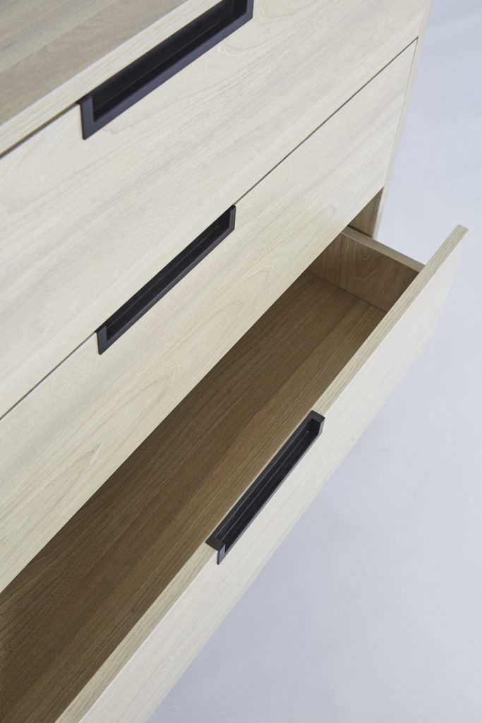 Black Metal & Light Maple Wooden Chest of Drawers ROOBBA
