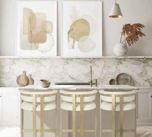 ROOBBA Athena Gold Metal & Cream Faux Leather Kitchen Lifestyle Image Modern Chic LuxuryBar Stool