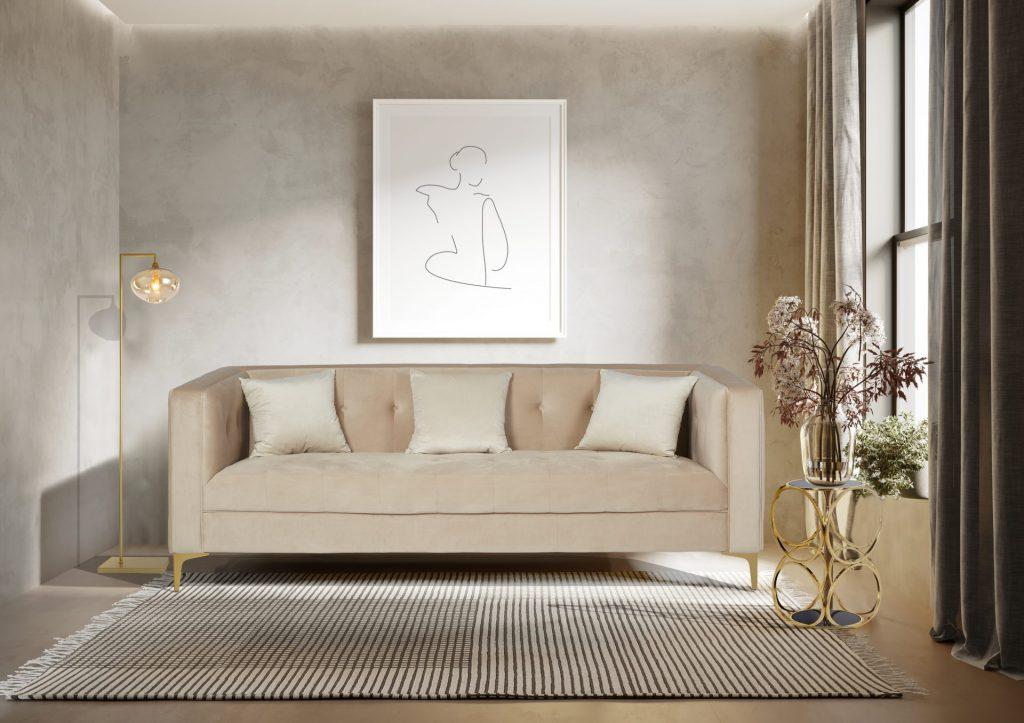 Cala Beige Sofa Rialto Gold Floor Lamp Milo Gold Side Table modern Chic Luxury Living Room ROOBBA