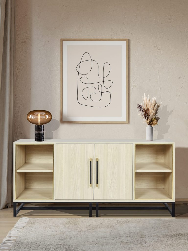 ROOBBA Lalo Wooden Sideboard Gold Black Detail Opal Marble Lamp Chic Modern Luxury Living Room